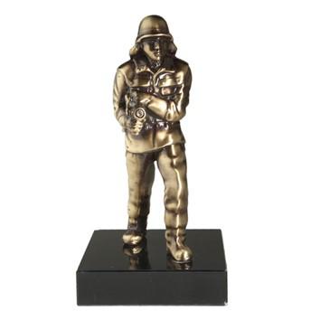 Brandweer beeldje Brandweerman brons