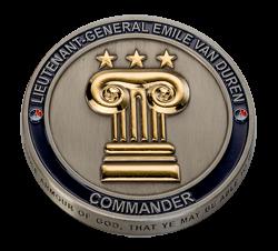 Coin Defensie 3 sterren Lieutenant-general Emile van Duren
