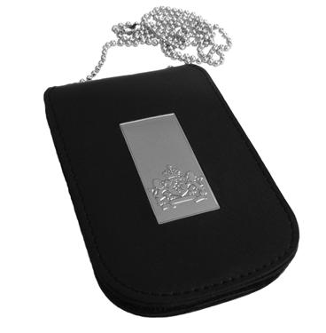 Zilver rechthoekig Rijkslogo legitimatiehouder met ketting