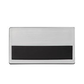 Naambadge kunststof hard met zilverkleurige voorzijde DEL21