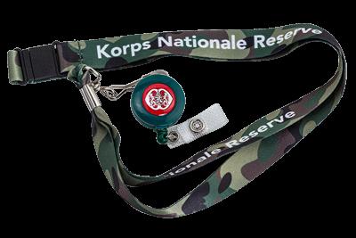 Camouflage halskoord met skipashouder Korps Nationale Reserve KNR