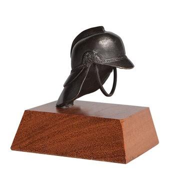 Brandweer beeldje helm 8 cm brons
